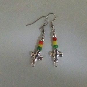 Rasta Vibe Cross Dangle Earrings